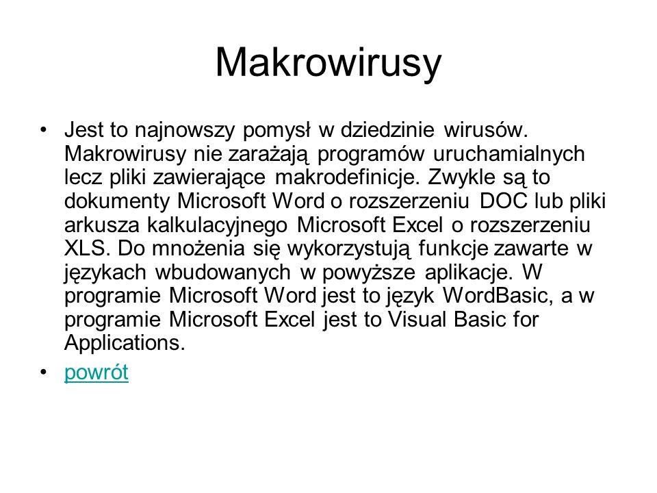Makrowirusy Jest to najnowszy pomysł w dziedzinie wirusów. Makrowirusy nie zarażają programów uruchamialnych lecz pliki zawierające makrodefinicje. Zw