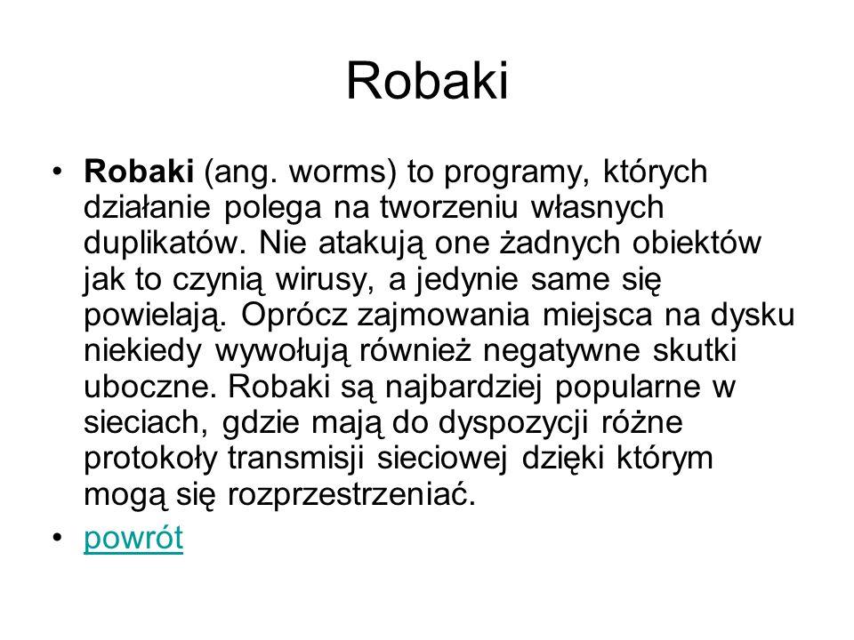 Robaki Robaki (ang. worms) to programy, których działanie polega na tworzeniu własnych duplikatów. Nie atakują one żadnych obiektów jak to czynią wiru