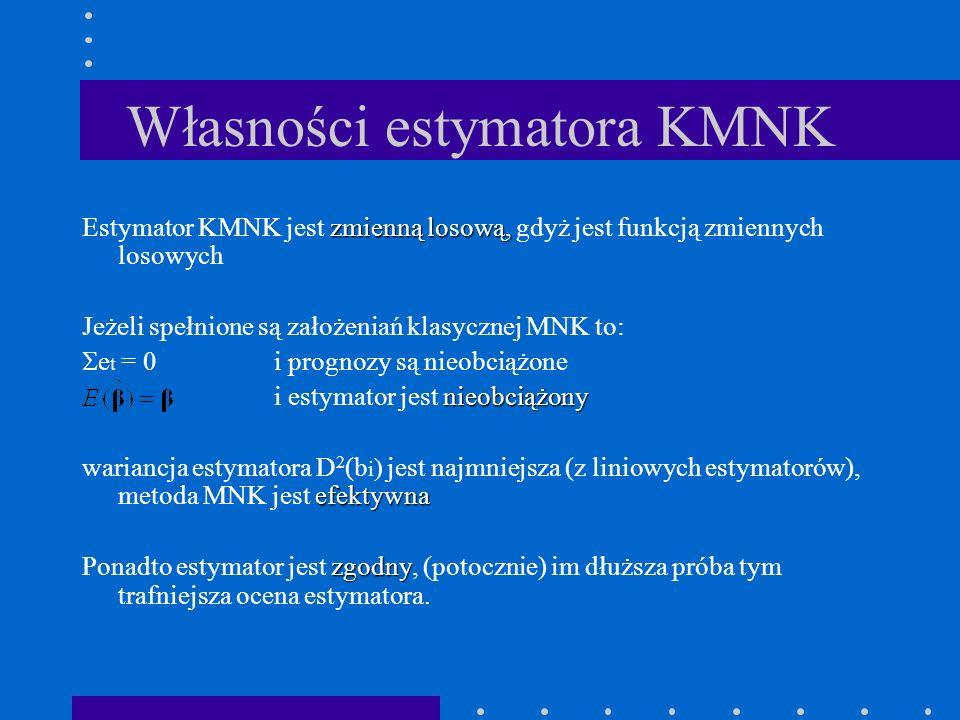 Własności estymatora KMNK zmienną losową, Estymator KMNK jest zmienną losową, gdyż jest funkcją zmiennych losowych Jeżeli spełnione są założeniań klasycznej MNK to: e t = 0 i prognozy są nieobciążone nieobciążony i estymator jest nieobciążony efektywna wariancja estymatora D 2 (b i jest najmniejsza (z liniowych estymatorów), metoda MNK jest efektywna zgodny Ponadto estymator jest zgodny, (potocznie) im dłuższa próba tym trafniejsza ocena estymatora.