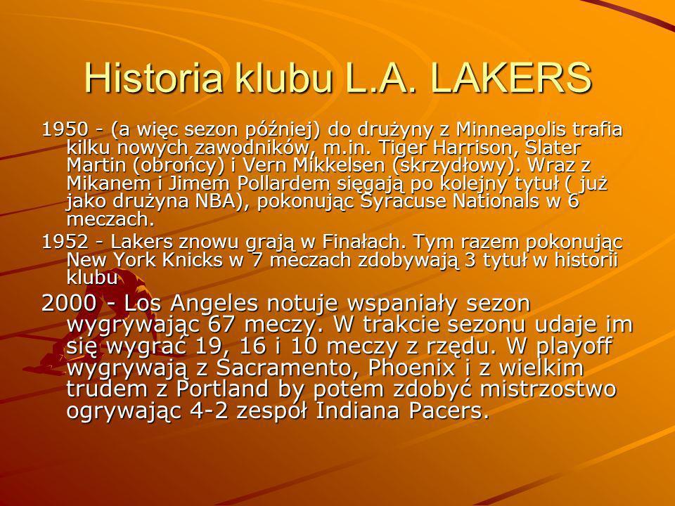 Historia klubu L.A. LAKERS 1950 - (a więc sezon później) do drużyny z Minneapolis trafia kilku nowych zawodników, m.in. Tiger Harrison, Slater Martin