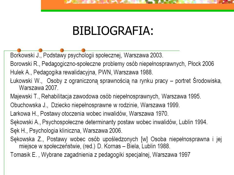 BIBLIOGRAFIA: Borkowski J., Podstawy psychologii społecznej, Warszawa 2003. Borowski R., Pedagogiczno-społeczne problemy osób niepełnosprawnych, Płock