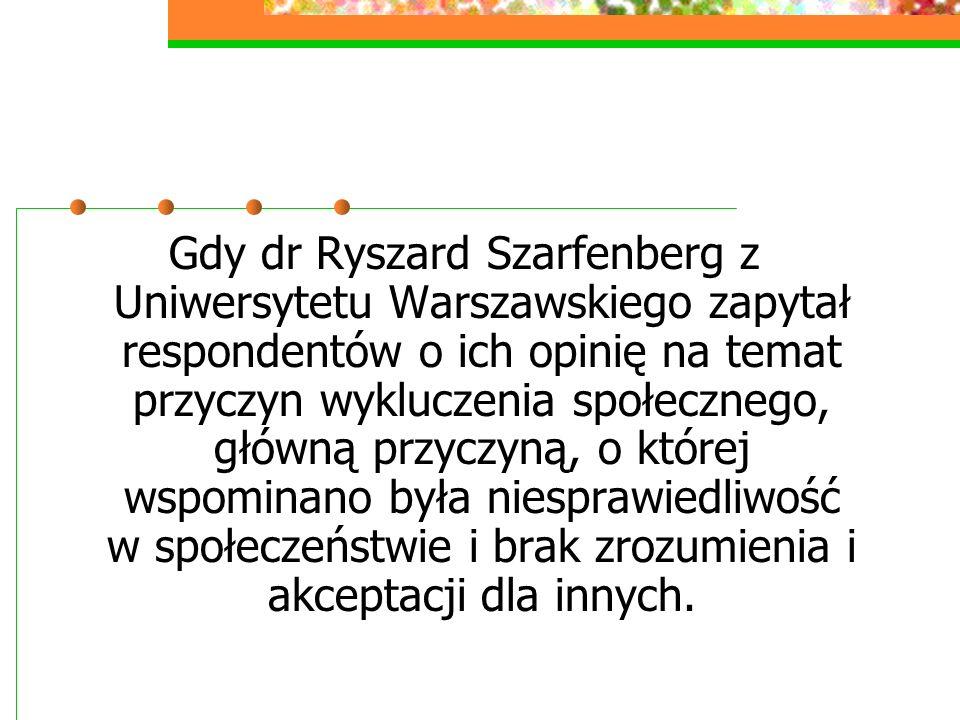 Gdy dr Ryszard Szarfenberg z Uniwersytetu Warszawskiego zapytał respondentów o ich opinię na temat przyczyn wykluczenia społecznego, główną przyczyną,
