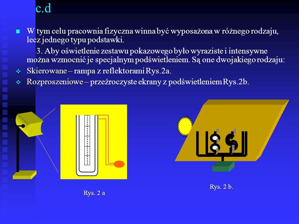 c.d W tym celu pracownia fizyczna winna być wyposażona w różnego rodzaju, lecz jednego typu podstawki. 3. Aby oświetlenie zestawu pokazowego było wyra