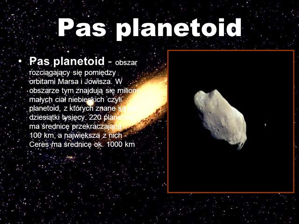 Pas planetoid Pas planetoid - obszar rozciągający się pomiędzy orbitami Marsa i Jowisza. W obszarze tym znajdują się miliony małych ciał niebieskich c