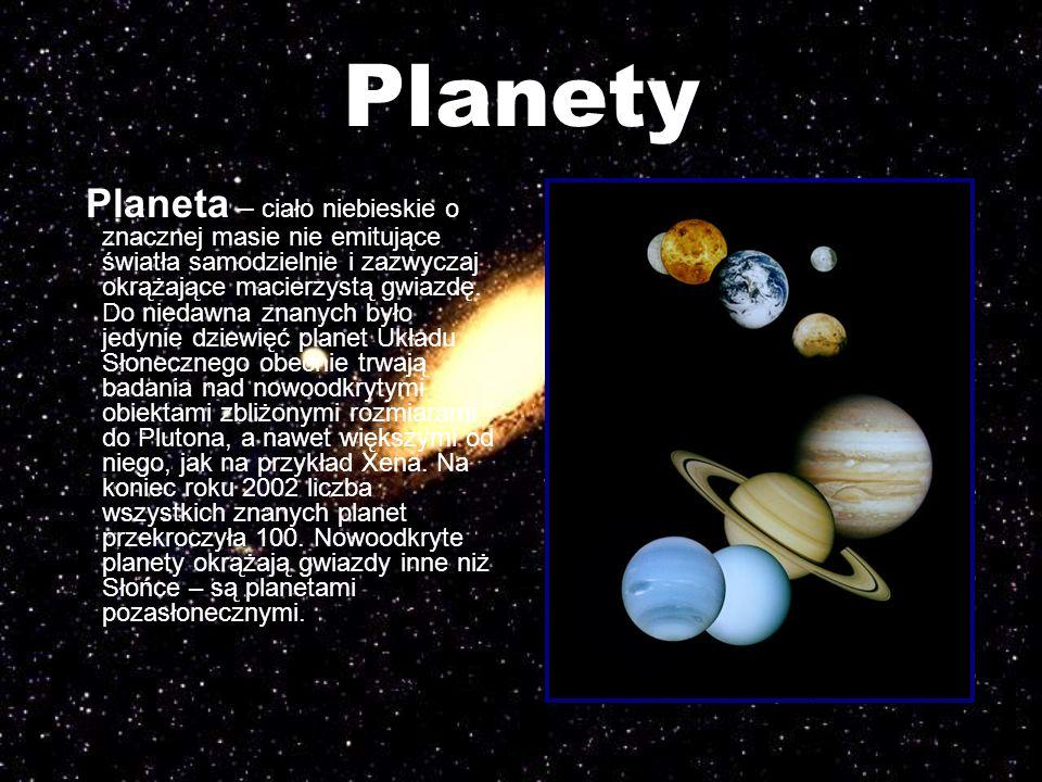Planety Planeta – ciało niebieskie o znacznej masie nie emitujące światła samodzielnie i zazwyczaj okrążające macierzystą gwiazdę. Do niedawna znanych