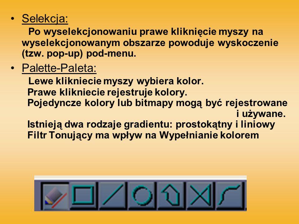 Selekcja: Po wyselekcjonowaniu prawe kliknięcie myszy na wyselekcjonowanym obszarze powoduje wyskoczenie (tzw. pop-up) pod-menu. Palette-Paleta: Lewe