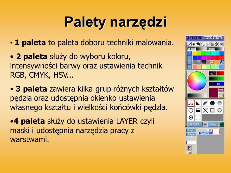 Palety narzędzi 1 paleta to paleta doboru techniki malowania. 2 paleta służy do wyboru koloru, intensywności barwy oraz ustawienia technik RGB, CMYK,