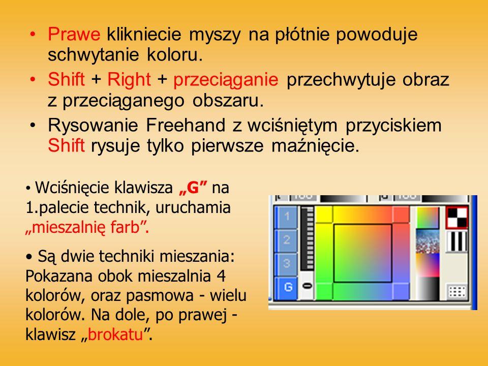 Prawe klikniecie myszy na płótnie powoduje schwytanie koloru. Shift + Right + przeciąganie przechwytuje obraz z przeciąganego obszaru. Rysowanie Freeh