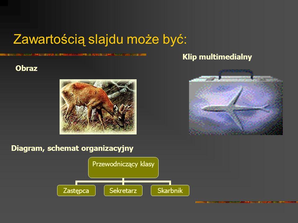 Zawartością slajdu może być: Przewodniczący klasy ZastępcaSekretarzSkarbnik Klip multimedialny Obraz Diagram, schemat organizacyjny