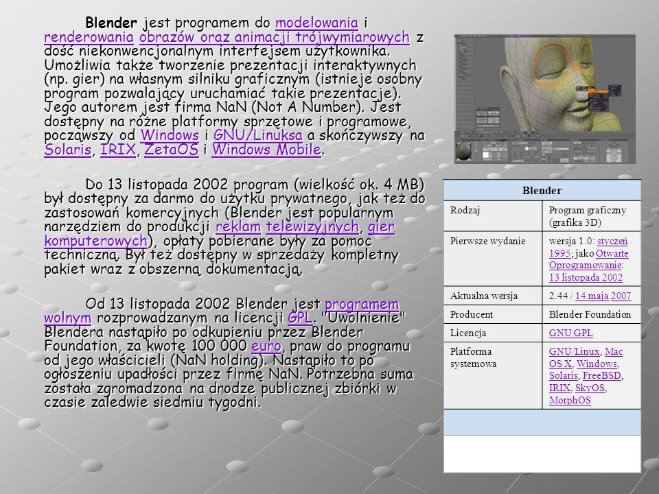 Blender jest programem do modelowania i renderowania obrazów oraz animacji trójwymiarowych z dość niekonwencjonalnym interfejsem użytkownika. Umożliwi