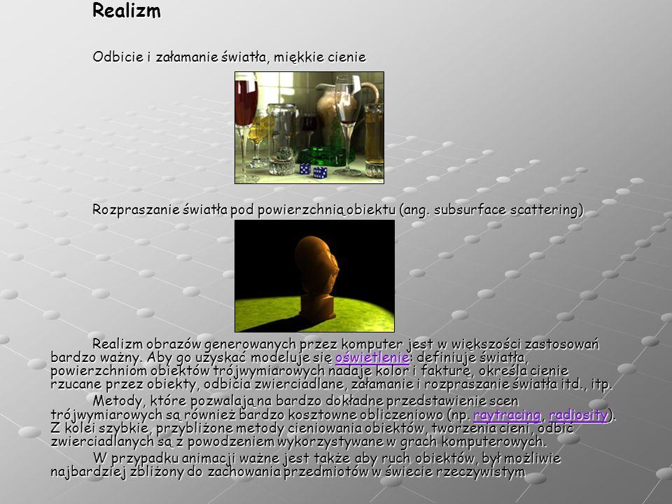Realizm Odbicie i załamanie światła, miękkie cienie Rozpraszanie światła pod powierzchnią obiektu (ang. subsurface scattering) Realizm obrazów generow