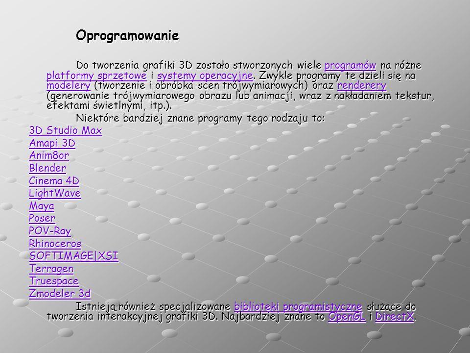Oprogramowanie Do tworzenia grafiki 3D zostało stworzonych wiele programów na różne platformy sprzętowe i systemy operacyjne.