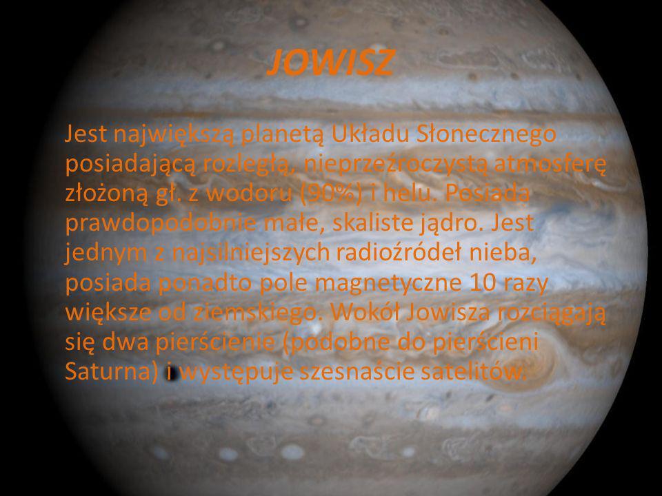 MARS Trzecia pod względem jasności planeta na nocnym niebie. Na jej powierzchni występują liczne kratery w tym najwyższa góra w Układzie Słonecznym. J