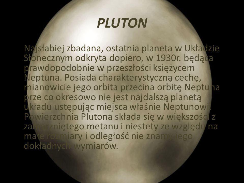 NEPTUN Ósma planeta Układu Słonecznego, pod względem właściwości fizycznych jest podobny do Urana. Jest od niego troszkę mniejszy, choć masą swą i tak