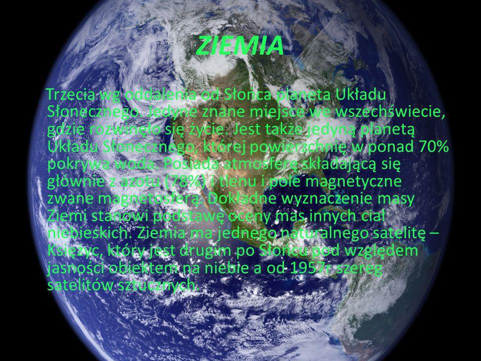 WENUS Drugi pod względem jasności obiekt na nocnym niebie. Jej powierzchnia składa się z wysokich gór, rozległych równin, wyżyn, kraterów. Ma gęstą i