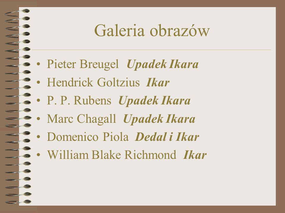 Galeria obrazów Pieter Breugel Upadek Ikara Hendrick Goltzius Ikar P.