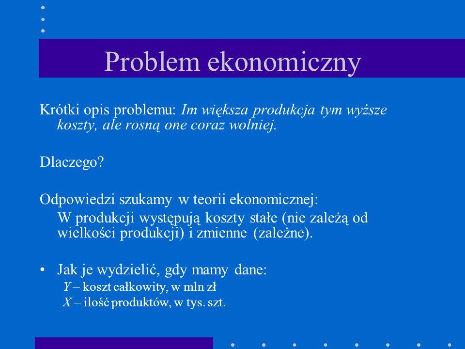Model ekonomiczny Formułujemy hipotezę ekonomiczną w postaciY zależy od X: Y = f(X) Zależność ta może mieć postać liniową Y= 0 1 X i 0 1 0 1 to parametry modelu –Czy istnieje empiryczna zależność między X a Y.