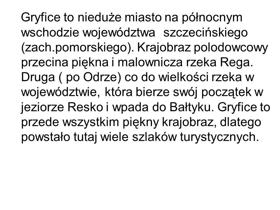 Gryfice to nieduże miasto na północnym wschodzie województwa szczecińskiego (zach.pomorskiego). Krajobraz polodowcowy przecina piękna i malownicza rze
