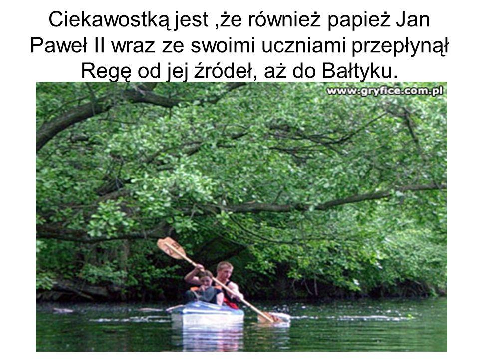 Ciekawostką jest,że również papież Jan Paweł II wraz ze swoimi uczniami przepłynął Regę od jej źródeł, aż do Bałtyku.