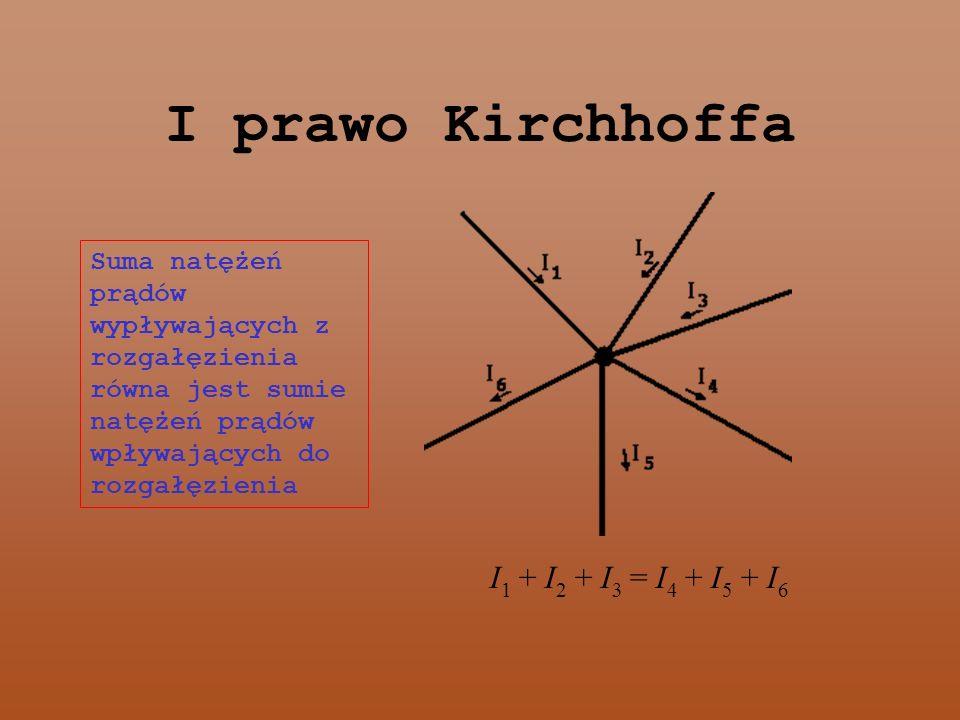 I prawo Kirchhoffa Suma natężeń prądów wypływających z rozgałęzienia równa jest sumie natężeń prądów wpływających do rozgałęzienia I 1 + I 2 + I 3 = I 4 + I 5 + I 6