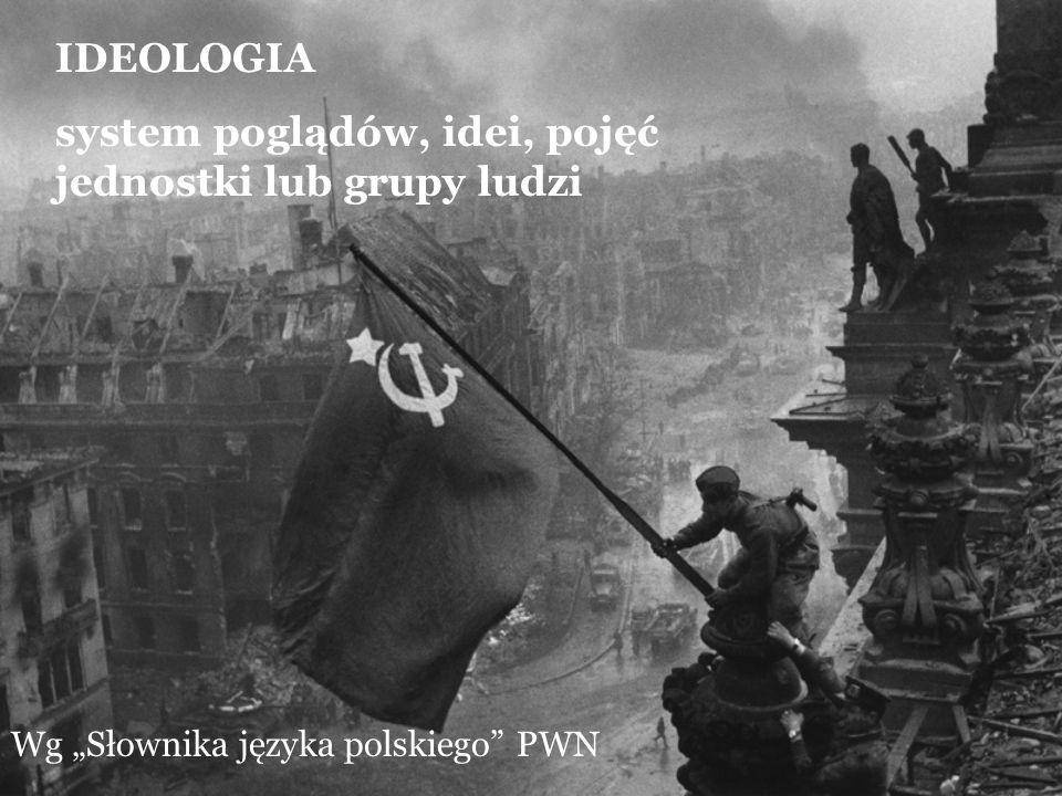 IDEOLOGIA system poglądów, idei, pojęć jednostki lub grupy ludzi Wg Słownika języka polskiego PWN