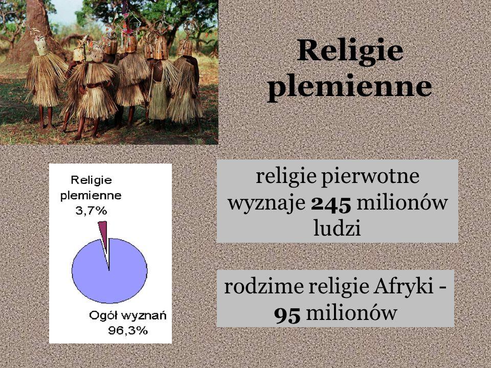 Religie plemienne religie pierwotne wyznaje 245 milionów ludzi rodzime religie Afryki - 95 milionów