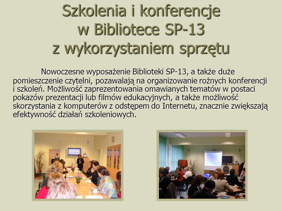 Szkolenia i konferencje w Bibliotece SP-13 z wykorzystaniem sprzętu Nowoczesne wyposażenie Biblioteki SP-13, a także duże pomieszczenie czytelni, pozawalają na organizowanie rożnych konferencji i szkoleń.
