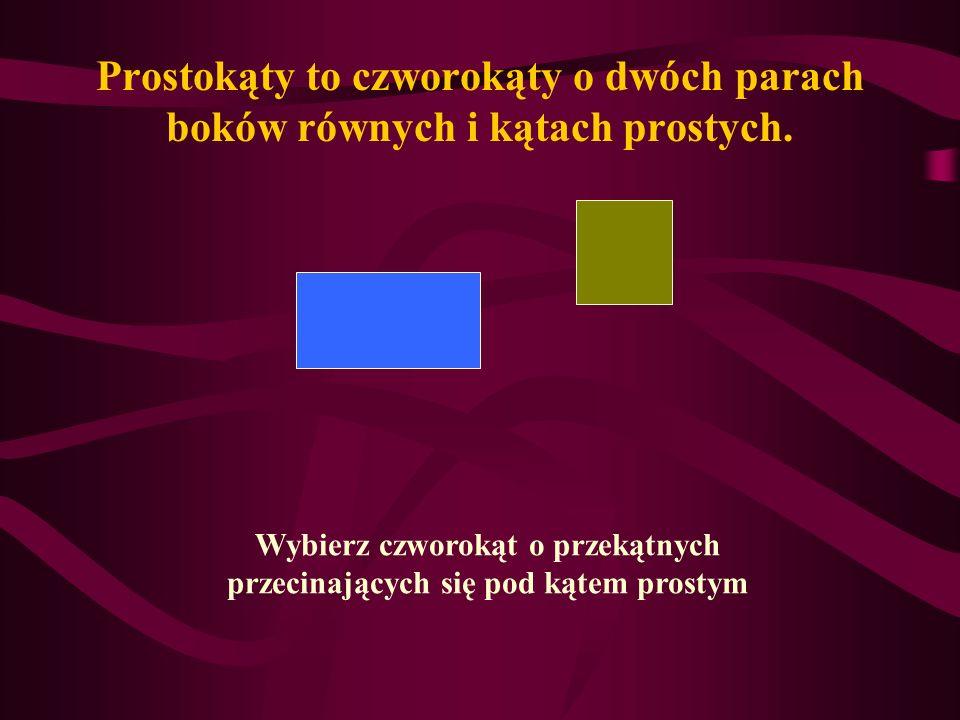 Prostokąty to czworokąty o dwóch parach boków równych i kątach prostych.