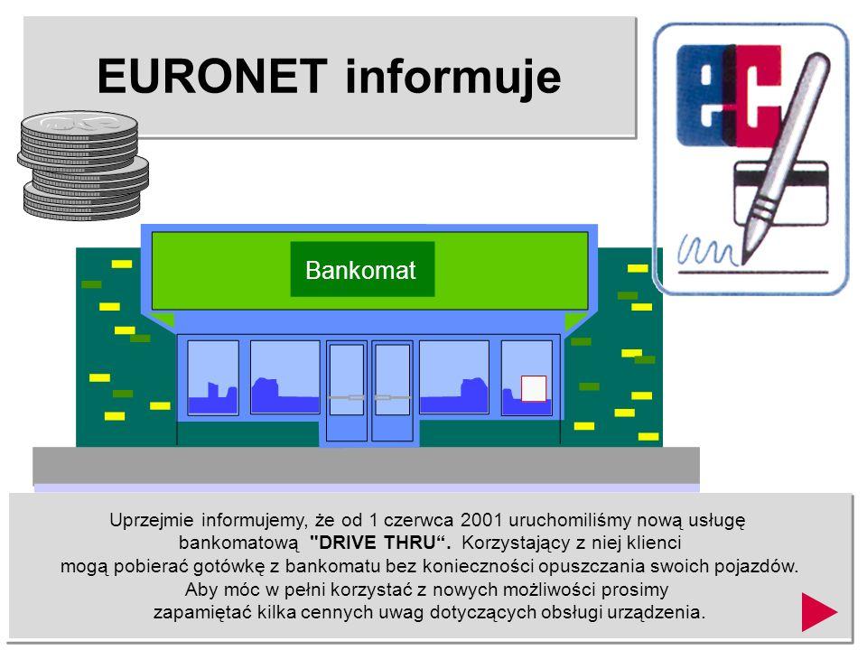 EURONET informuje Uprzejmie informujemy, że od 1 czerwca 2001 uruchomiliśmy nową usługę bankomatową DRIVE THRU.