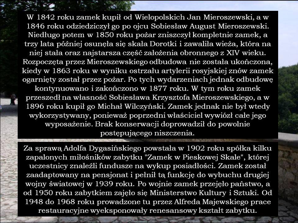W 1842 roku zamek kupił od Wielopolskich Jan Mieroszewski, a w 1846 roku odziedziczył go po ojcu Sobiesław August Mieroszewski. Niedługo potem w 1850