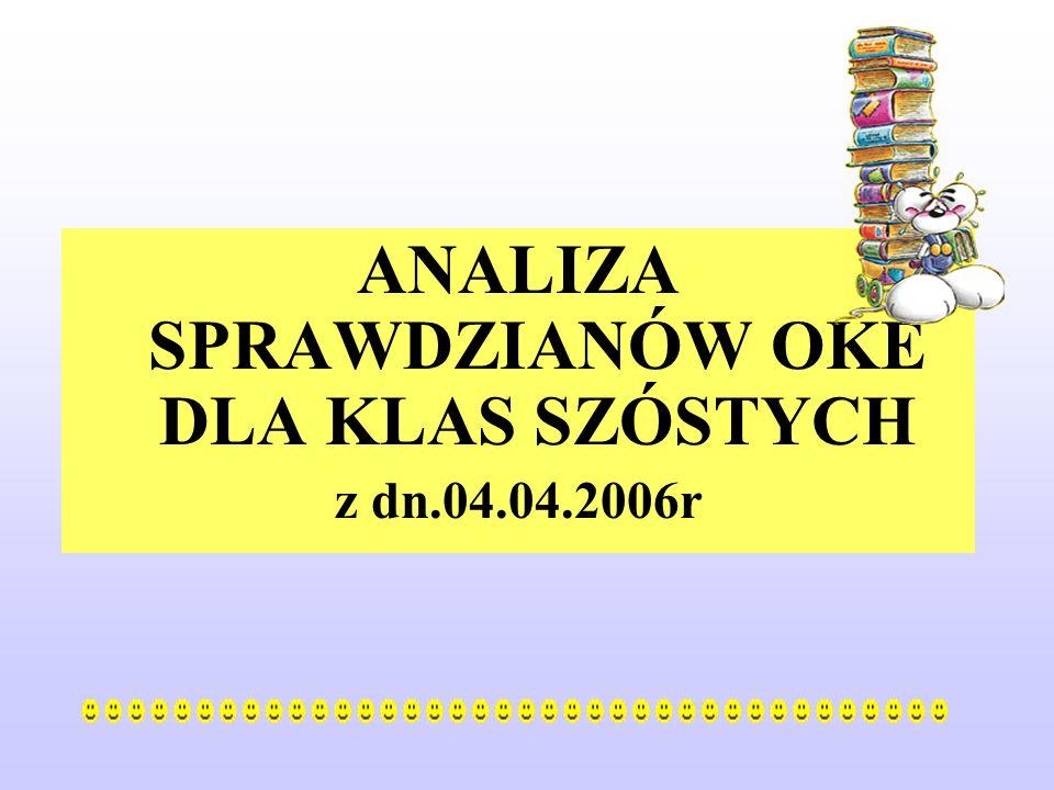 ANALIZA SPRAWDZIANÓW OKE DLA KLAS SZÓSTYCH z dn.04.04.2006r