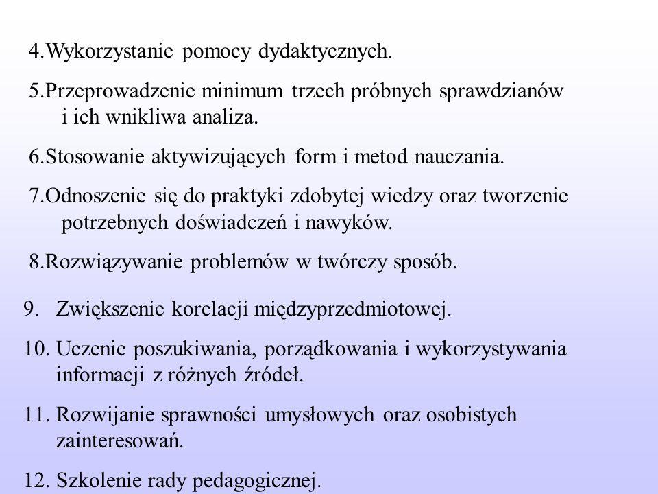 4.Wykorzystanie pomocy dydaktycznych.