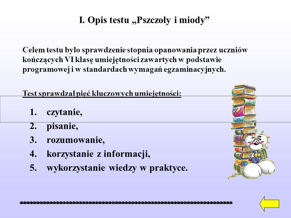 1.czytanie, 2.pisanie, 3.rozumowanie, 4.korzystanie z informacji, 5.wykorzystanie wiedzy w praktyce.