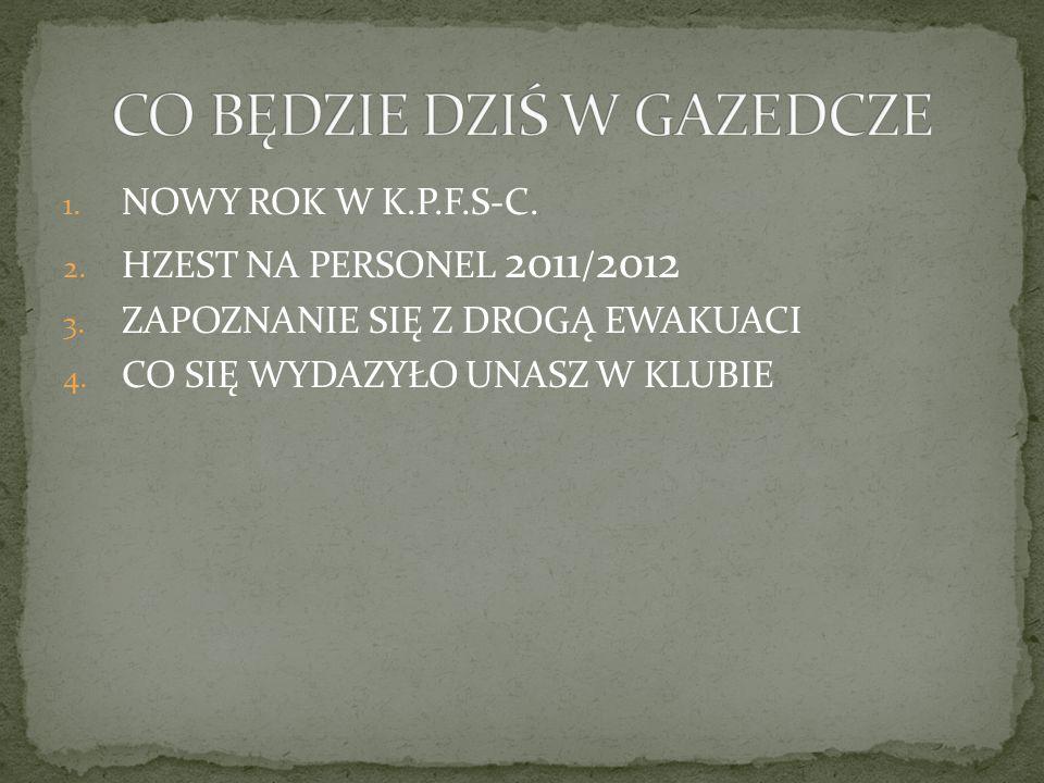 1. NOWY ROK W K.P.F.S-C. 2. HZEST NA PERSONEL 2011 / 2012 3. ZAPOZNANIE SIĘ Z DROGĄ EWAKUACI 4. CO SIĘ WYDAZYŁO UNASZ W KLUBIE