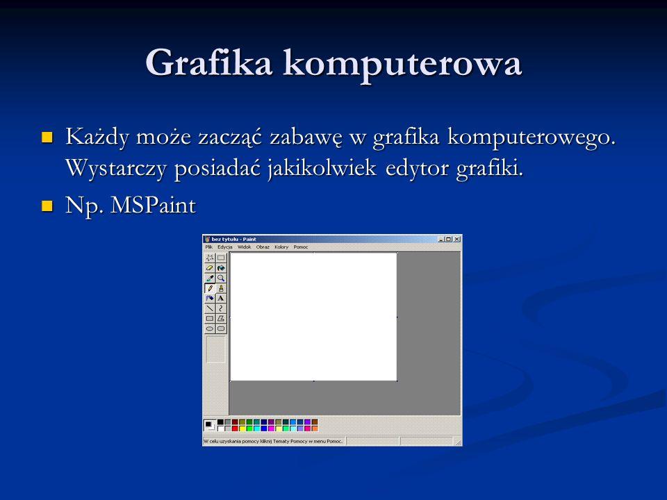 Grafika komputerowa Każdy może zacząć zabawę w grafika komputerowego. Wystarczy posiadać jakikolwiek edytor grafiki. Każdy może zacząć zabawę w grafik