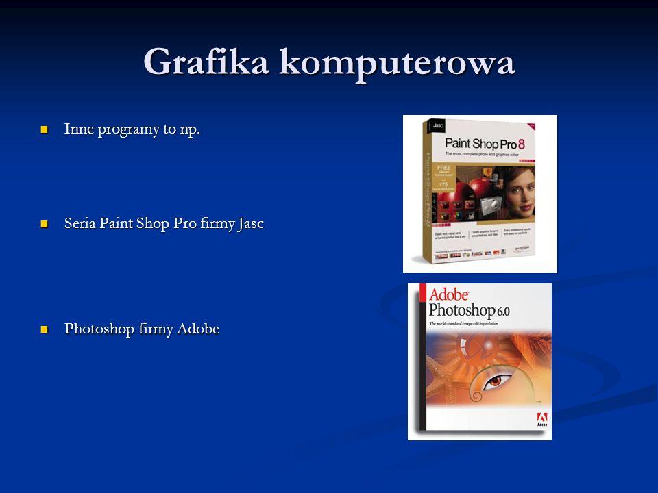 Grafika komputerowa Inne programy to np. Inne programy to np. Seria Paint Shop Pro firmy Jasc Seria Paint Shop Pro firmy Jasc Photoshop firmy Adobe Ph