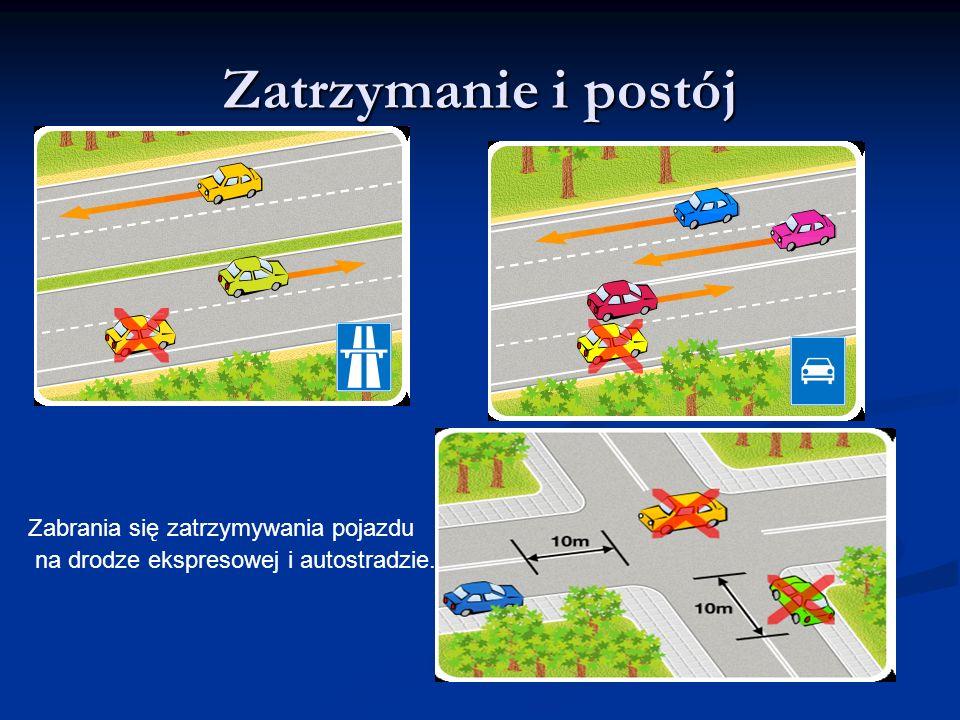 Zatrzymanie i postój Zabrania się zatrzymywania pojazdu na drodze ekspresowej i autostradzie.