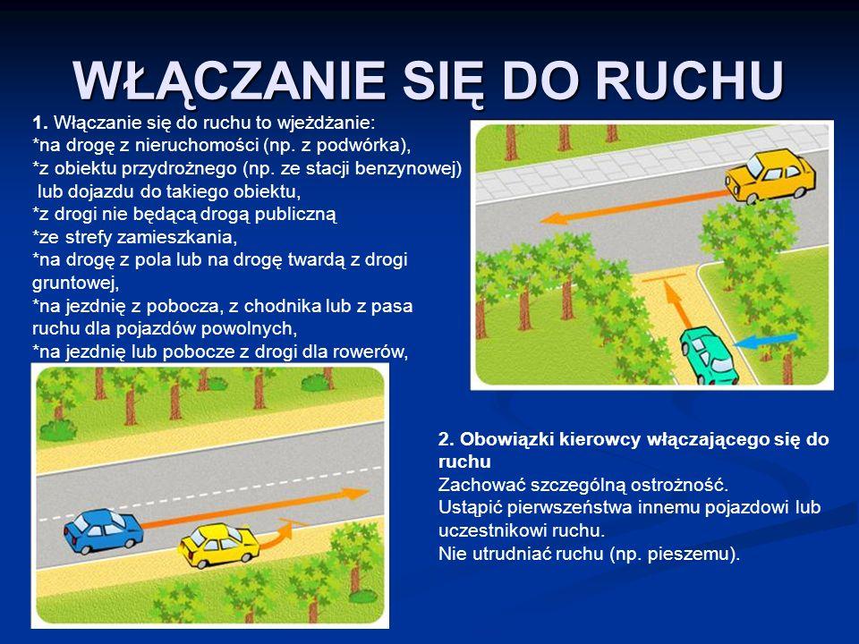 WŁĄCZANIE SIĘ DO RUCHU 1. Włączanie się do ruchu to wjeżdżanie: *na drogę z nieruchomości (np. z podwórka), *z obiektu przydrożnego (np. ze stacji ben