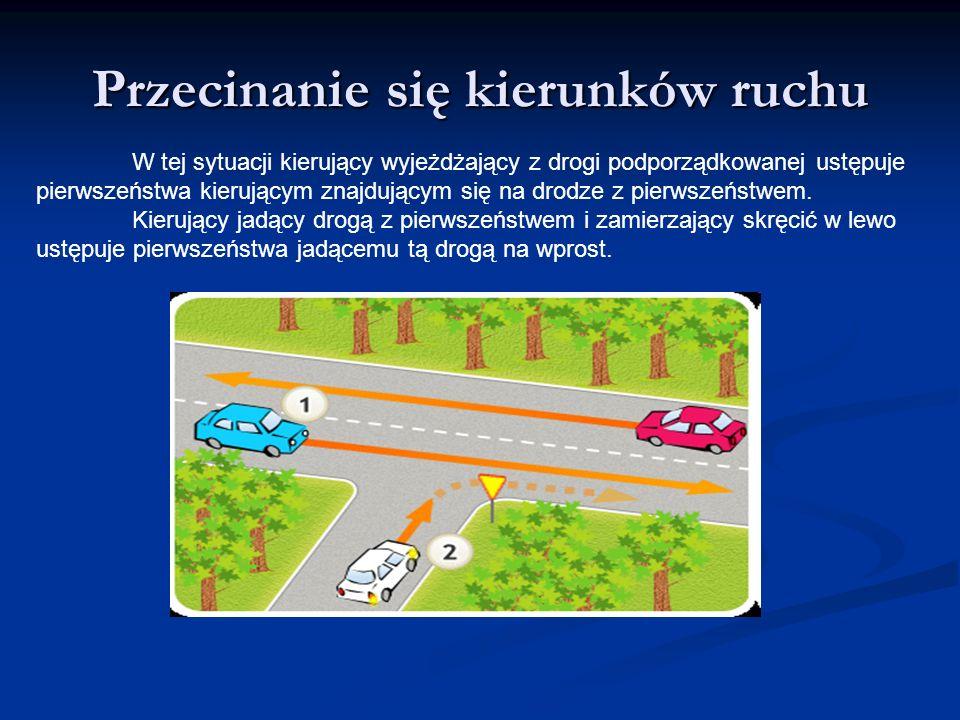 Przecinanie się kierunków ruchu W tej sytuacji kierujący wyjeżdżający z drogi podporządkowanej ustępuje pierwszeństwa kierującym znajdującym się na dr