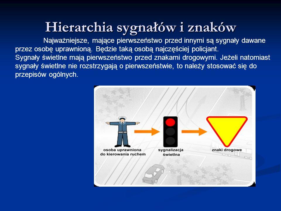 Hierarchia sygnałów i znaków Najważniejsze, mające pierwszeństwo przed innymi są sygnały dawane przez osobę uprawnioną. Będzie taką osobą najczęściej
