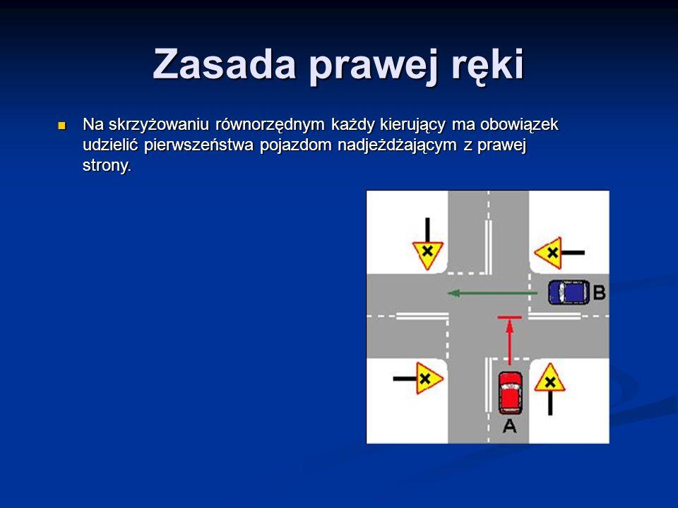 Zasada prawej ręki Na skrzyżowaniu równorzędnym każdy kierujący ma obowiązek udzielić pierwszeństwa pojazdom nadjeżdżającym z prawej strony. Na skrzyż