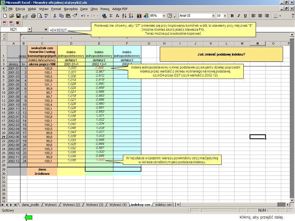 Jak zmienić podstawę indeksu? Indeks jednopodstawowy o innej podstawie uzyskujemy dzieląc poprzedni indeks przez wartość z okresu wybranego na nową po