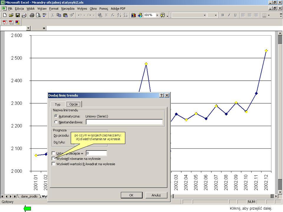 po czym w opcjach zaznaczamy: Wyświetl równanie na wykresie. Kliknij, aby przejść dalej.