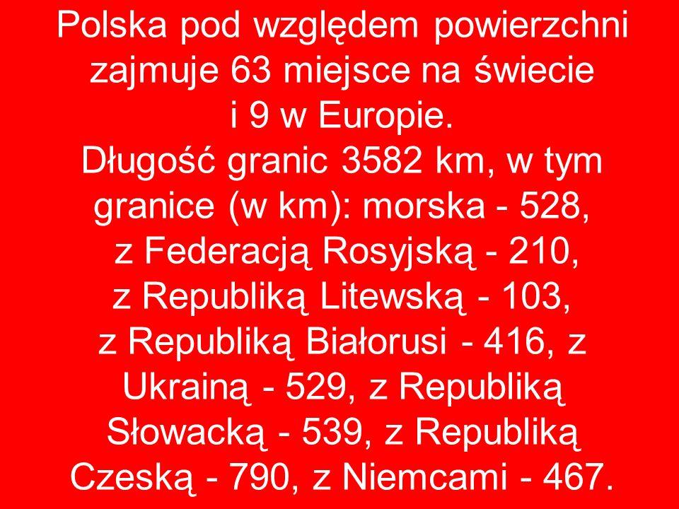 Polska pod względem powierzchni zajmuje 63 miejsce na świecie i 9 w Europie. Długość granic 3582 km, w tym granice (w km): morska - 528, z Federacją R