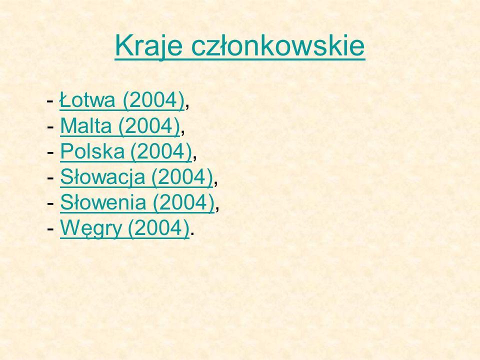 Kraje członkowskie - Łotwa (2004), - Malta (2004), - Polska (2004), - Słowacja (2004), - Słowenia (2004), - Węgry (2004).Łotwa (2004)Malta (2004)Polsk
