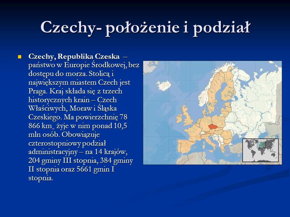 Czechy- położenie i podział Czechy, Republika Czeska – państwo w Europie Środkowej, bez dostępu do morza. Stolicą i największym miastem Czech jest Pra