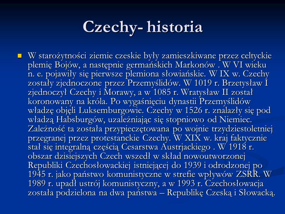 Czechy- historia W starożytności ziemie czeskie były zamieszkiwane przez celtyckie plemię Bojów, a następnie germańskich Markonów. W VI wieku n. e. po