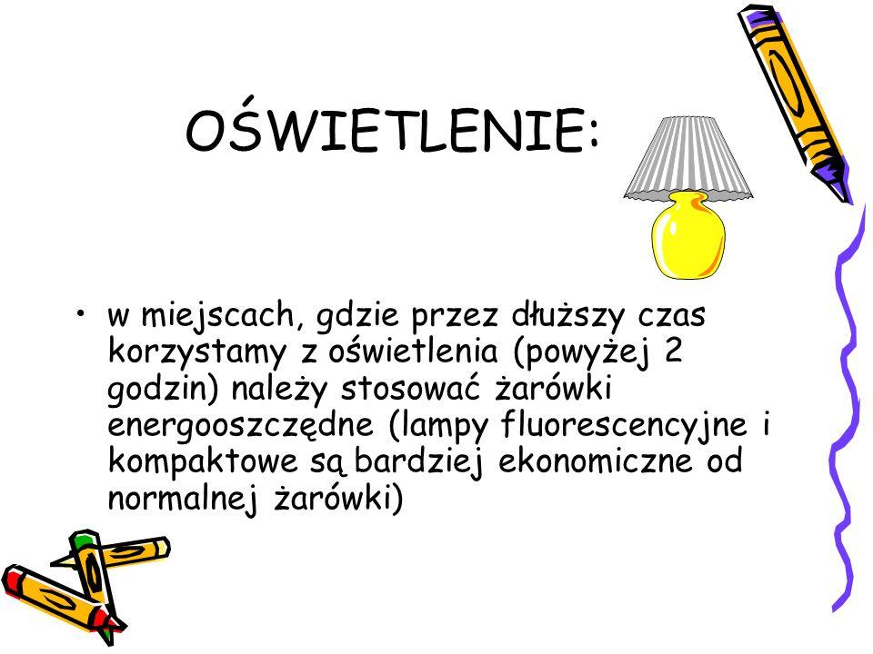 OŚWIETLENIE: w miejscach, gdzie przez dłuższy czas korzystamy z oświetlenia (powyżej 2 godzin) należy stosować żarówki energooszczędne (lampy fluoresc