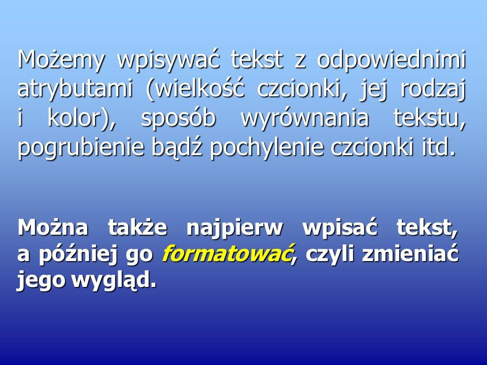 Pionowa migająca kreska to kursor tekstowy, który informuje nas o miejscu rozpoczęcia wpisywania tekstu