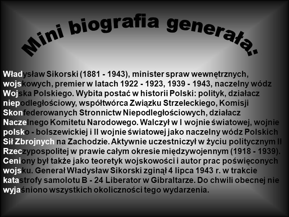 Generał Sikorski został pochowany na cmentarzu lotników polskich w Newark, w Wielkiej Brytanii. 17 X 1993 roku jego prochy przeniesiono na Wawel. Taje